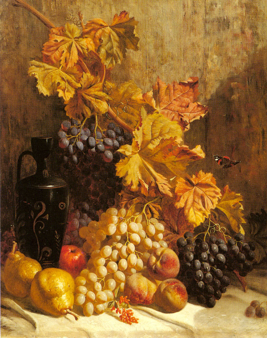 A Still Life With Grapes Pears Peaches An Urn