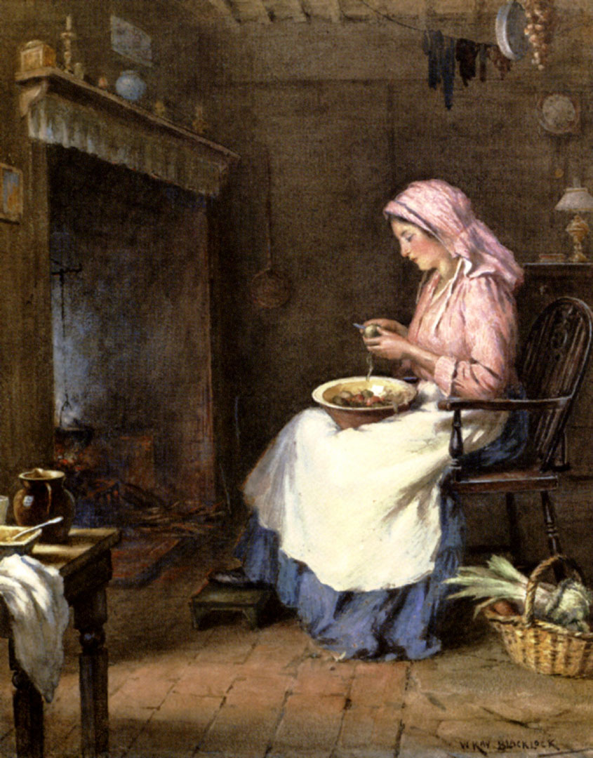 A Woman Peeling Vegetables