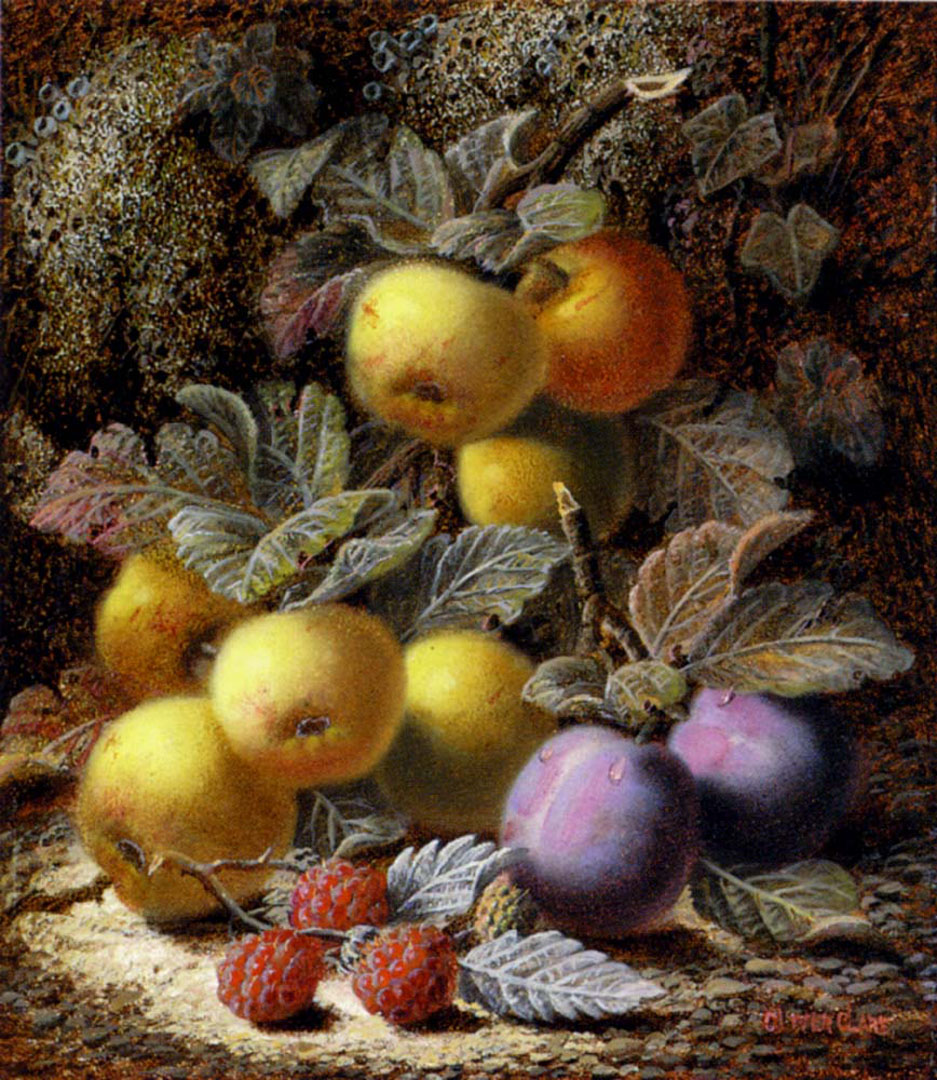 Still Life With Apples Plums And Raspberries