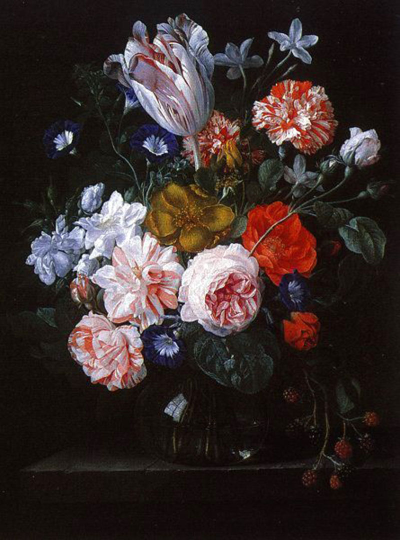 A Tulip Carnations And Morning Glory In A Glass Vase