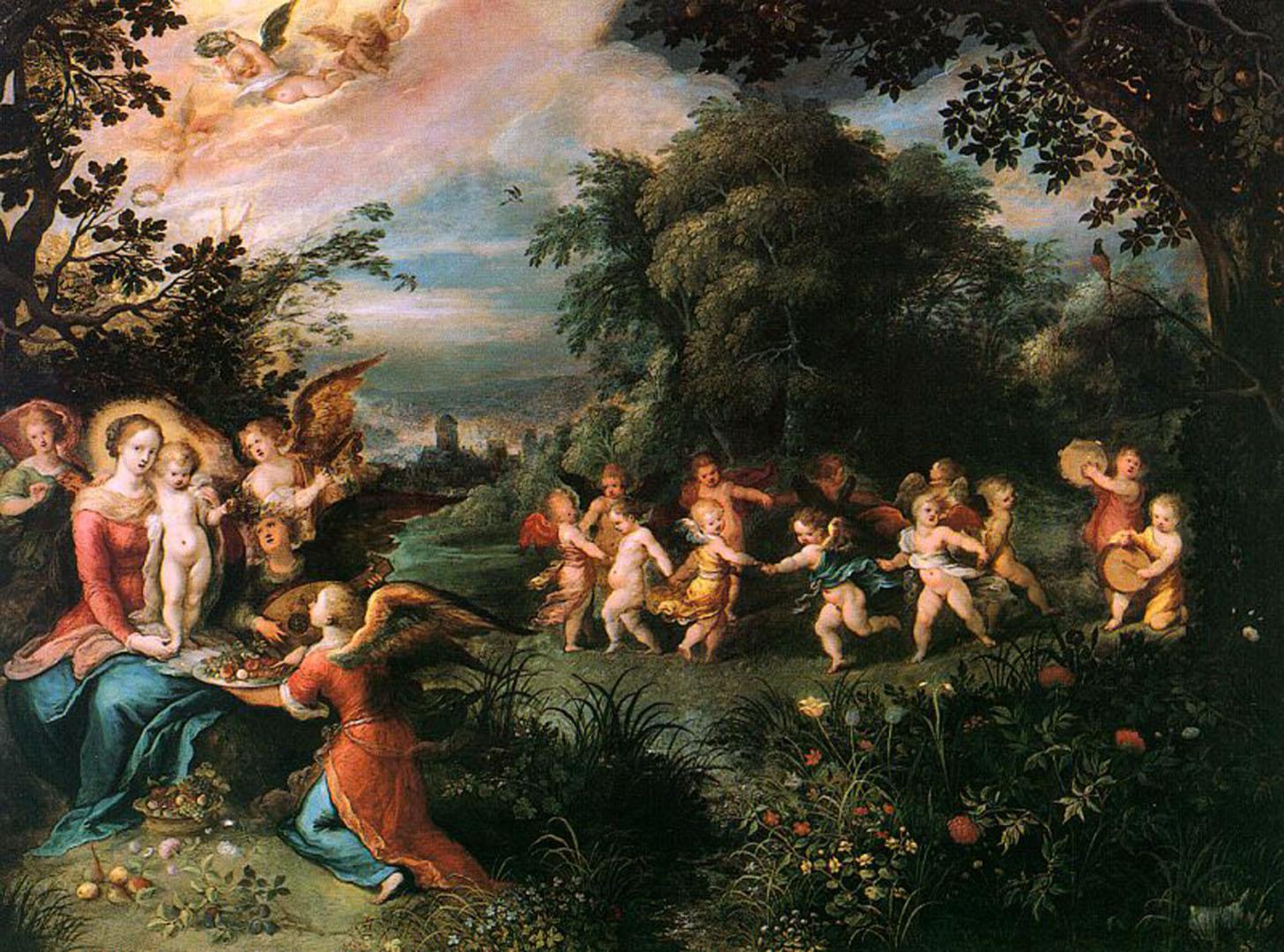 cherubs dancing in the garden of delights flemish art