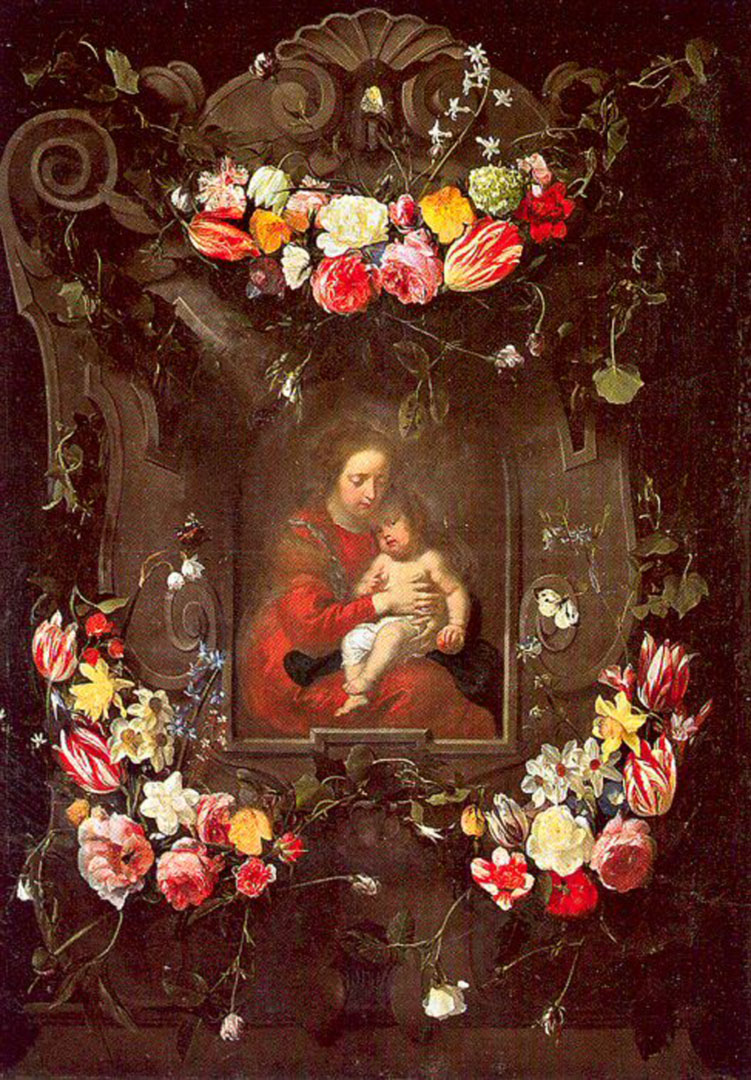 Garland Of Flowers With The Virgin And Child