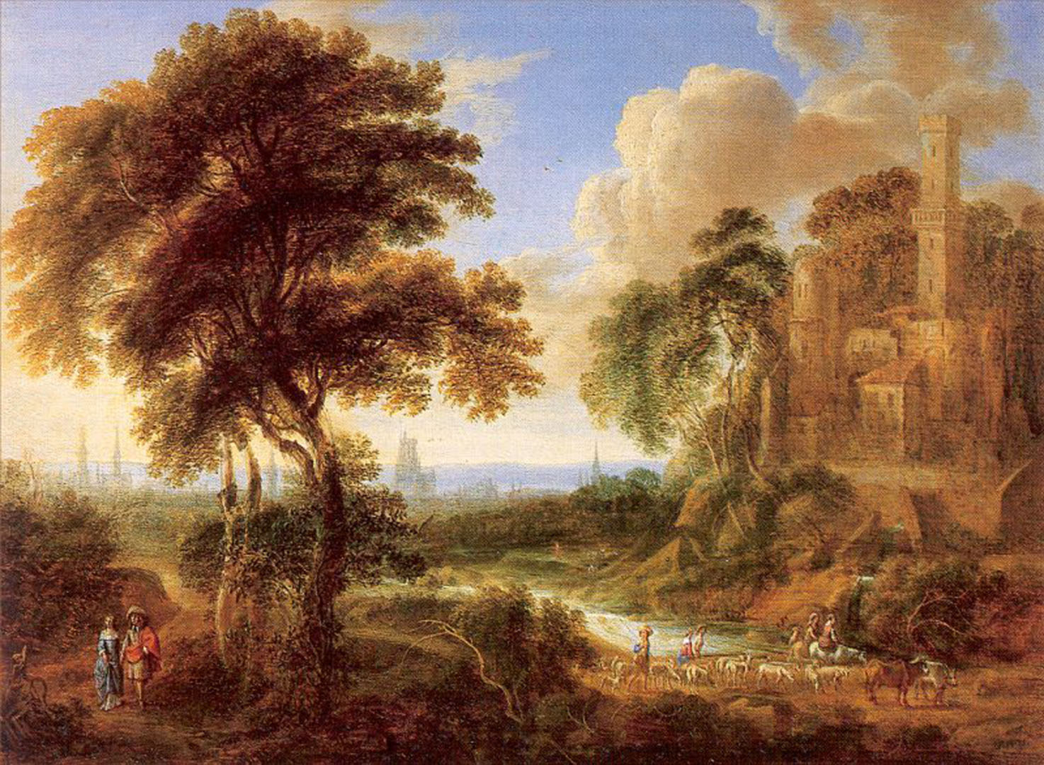 Landscape With A Castle And Town In The Distance