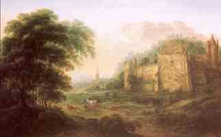 landscape with ruins of a fortress