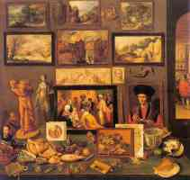 still life of paintings sculptures shells and other objects