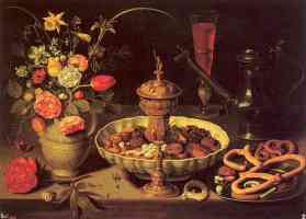 still life with vase jug and platter of dried fruit