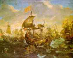 the battle of the spanish fleet with dutch ships in may 1573 during the siege of haarlem