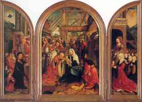 tryptych with the adoration of the magi donors saints