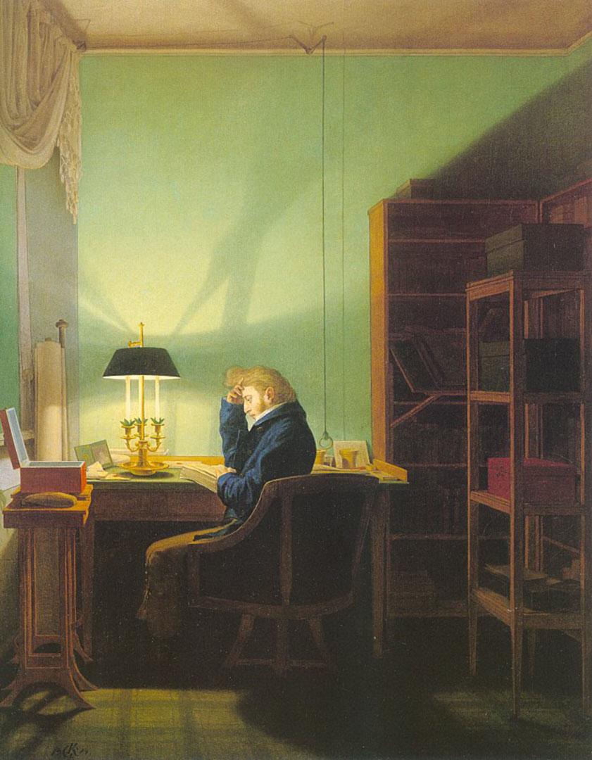 Man Reading By Lamplight