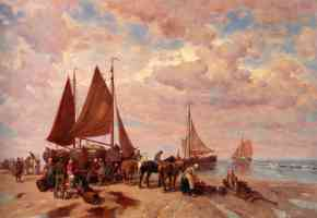 a coastal scene with fisherfolk sorting the days catch