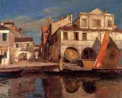 canal scene in chioggia with bragozzo