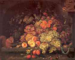 fruit still life with squirrel and goldfinch