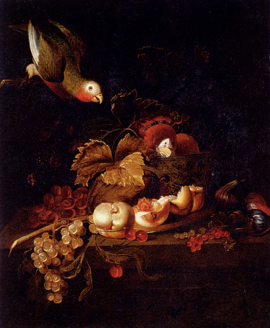 Still Life Of Grapes A Halved Peach And Cherries Resting On A Table With A Parrot