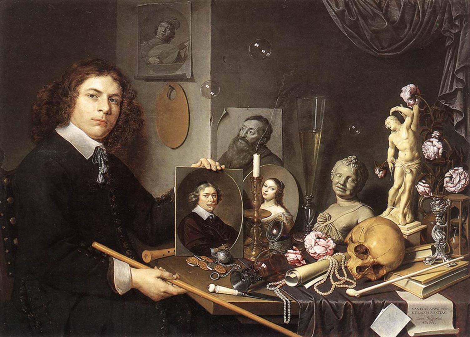 Self Portrait With Vanitas Symbols