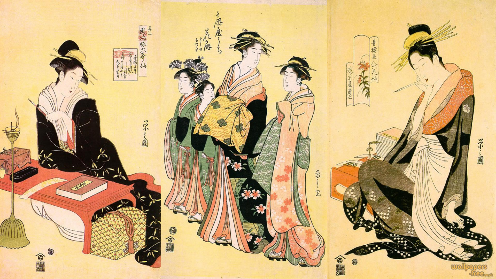 Geisha Girls Walking And Performing Calligraphy