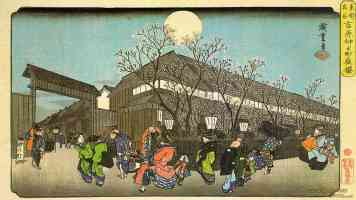 cherry blossom in the evening on the nakanomachi in yoshiwara