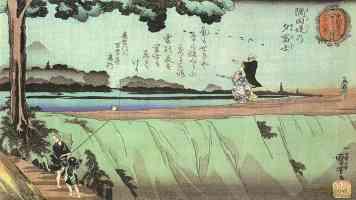 fuji in the evening as seen from sumida zutsumi