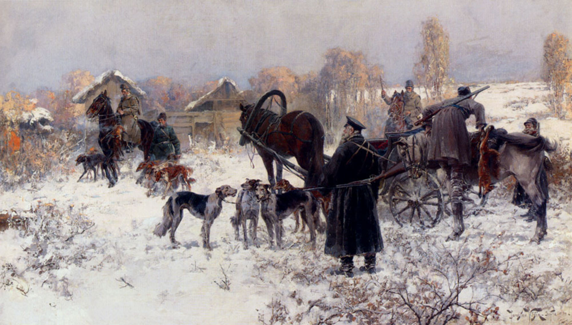 Soldiers Dogs Horses And Carts In The Snow