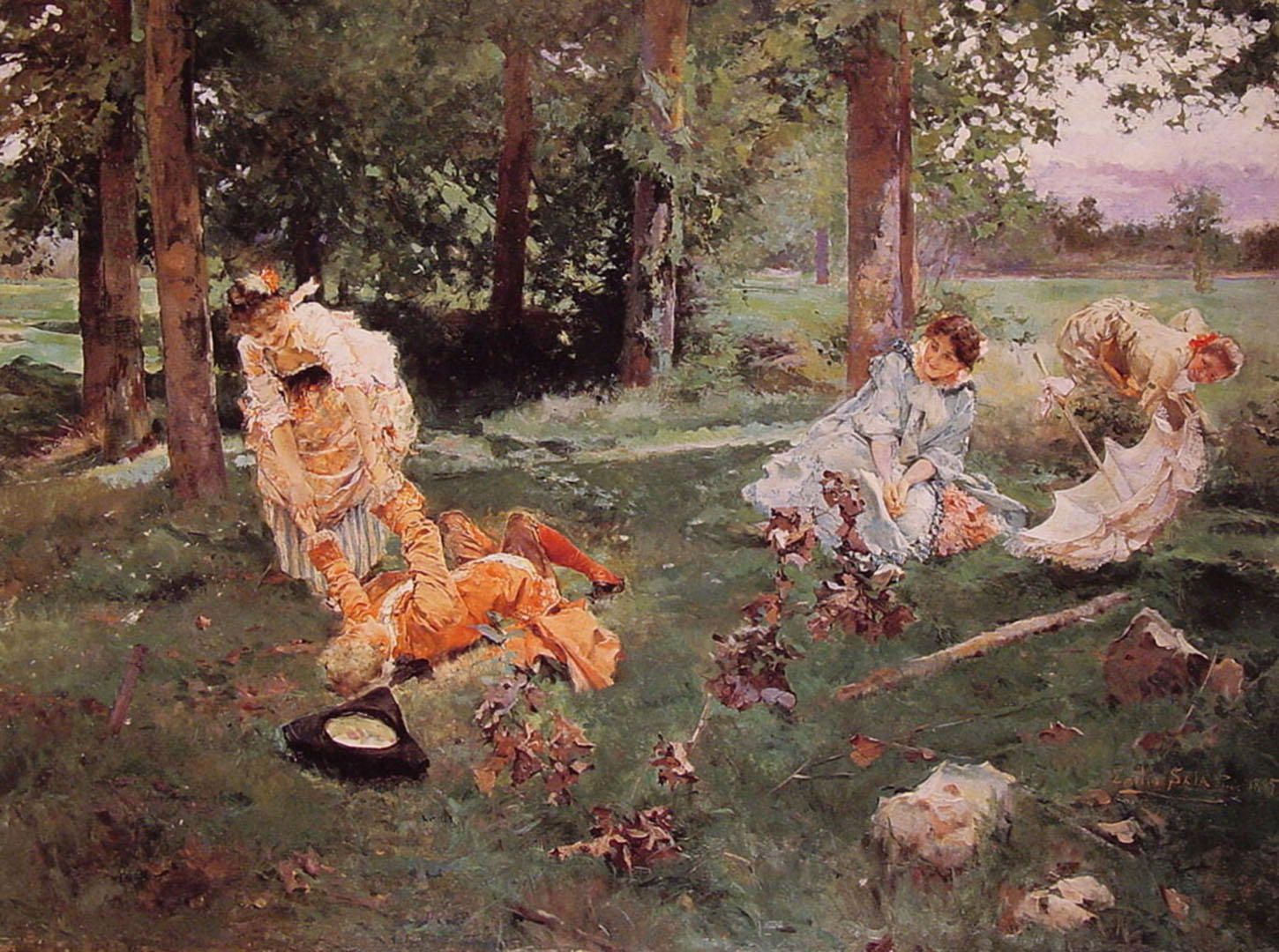 Elegant Figures In A Summer Garden