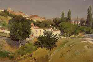 landscape with the convent of the holy spirit of segovia