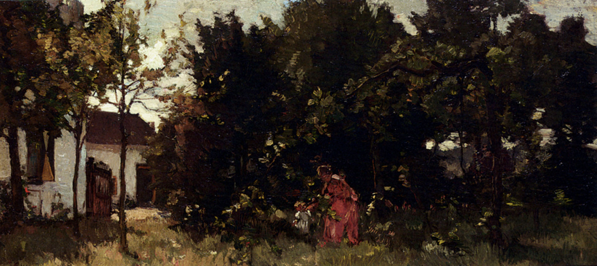 A Mother And Child Picking Flowers