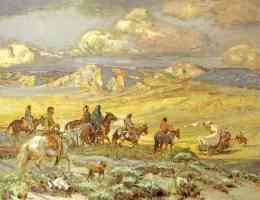 friendly indians watching a wagon train