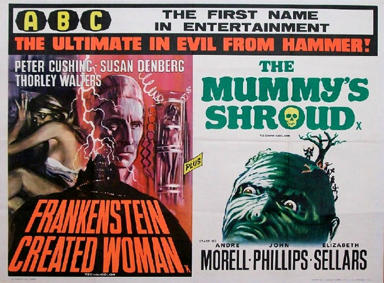 Hammer Horror FRANKENSTEIN CREATED WOMAN And THE MUMMYS SHROUD Double    Frankenstein Created Woman Poster