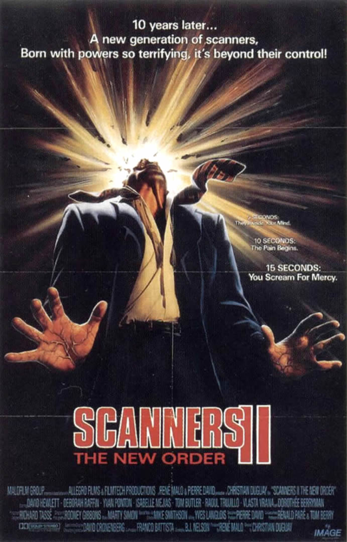 SCANNERS II THE NEW ORDER - Splatter And Gore B Movie Posters