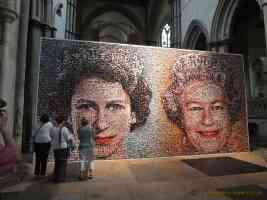 queen picture mosaic artwork at rochester cathedral