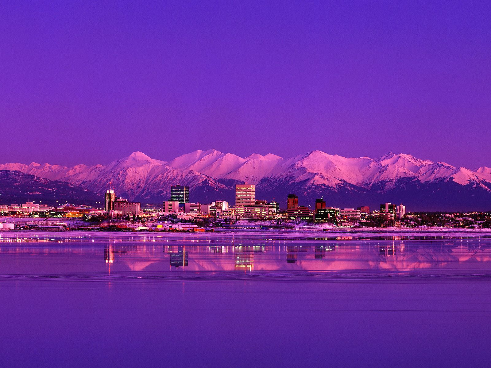Anchorage Skyline Evening Alaska
