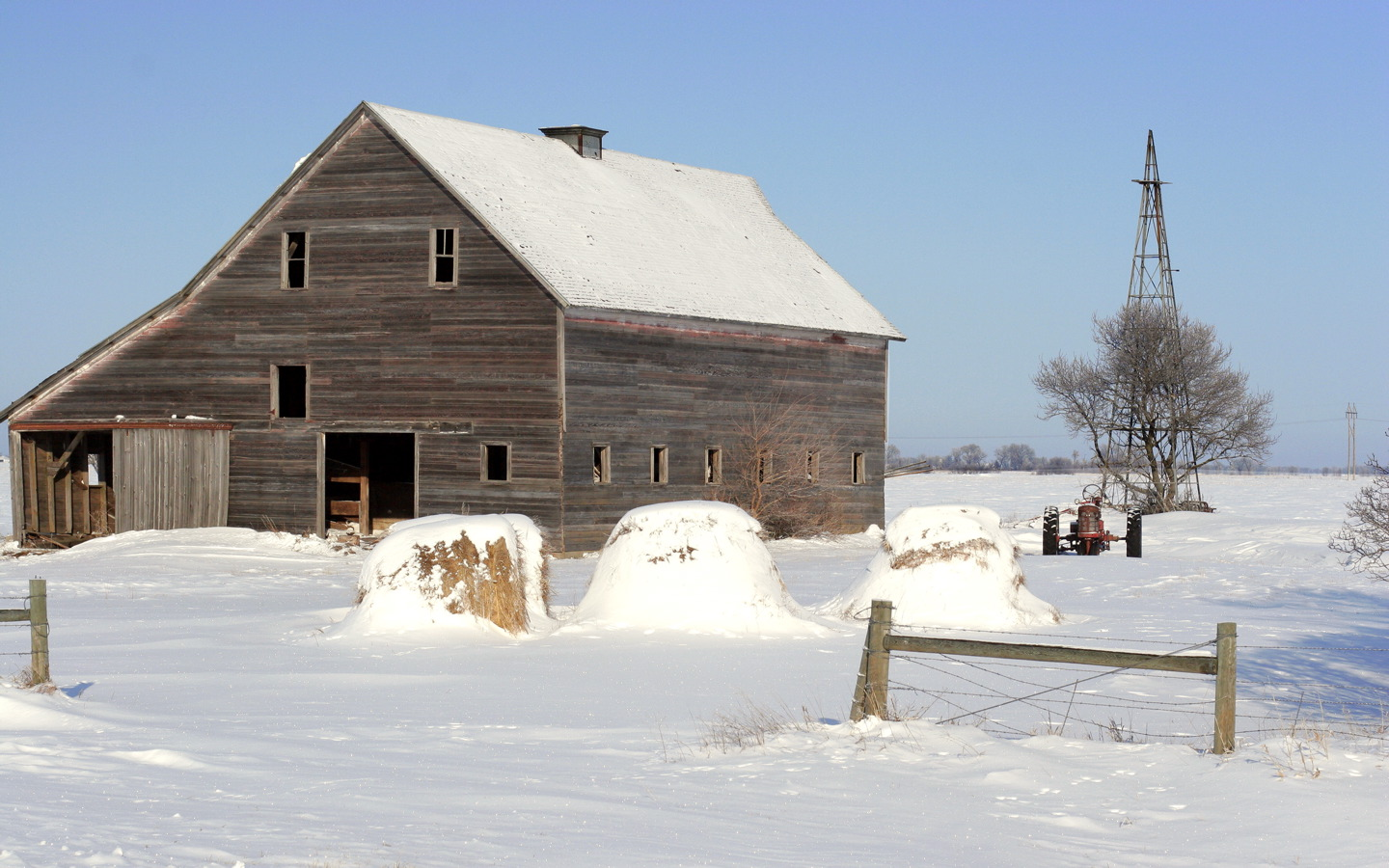 Lonesome Barn In The Snow