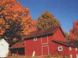 red barn in the fall