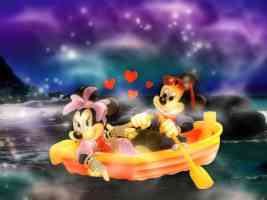 mickey and minnie in a rowboat