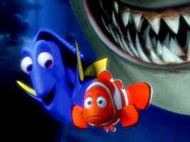 nemo about to be eaten by a shark