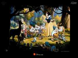 snow white and the seven dwarves in a woodland clearing