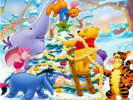 winnie the poo and friends decorating the christmas tree