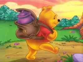 winnie the pooh carrying a pot of honey