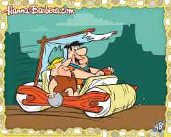 fred flintstone driving his car