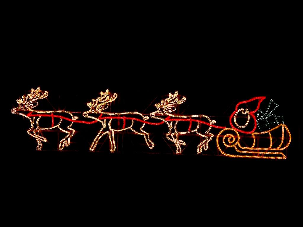 Neon Santa And Reindeers