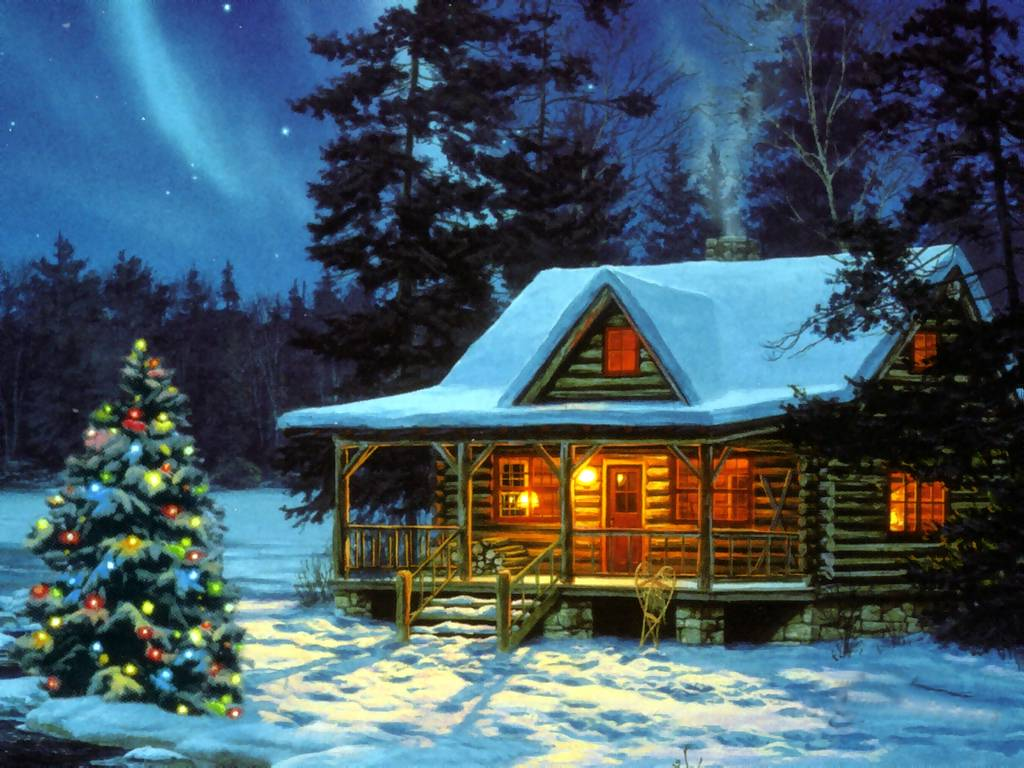 Winter Wallpaper Scenes With Cabins Christmas Cabin Christmas Landscapes Wallpaper Image