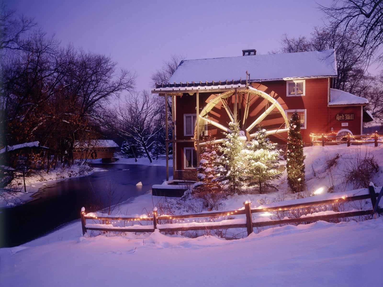 Red mill at christmas parfreyville wisconsin christmas for Christmas landscape images