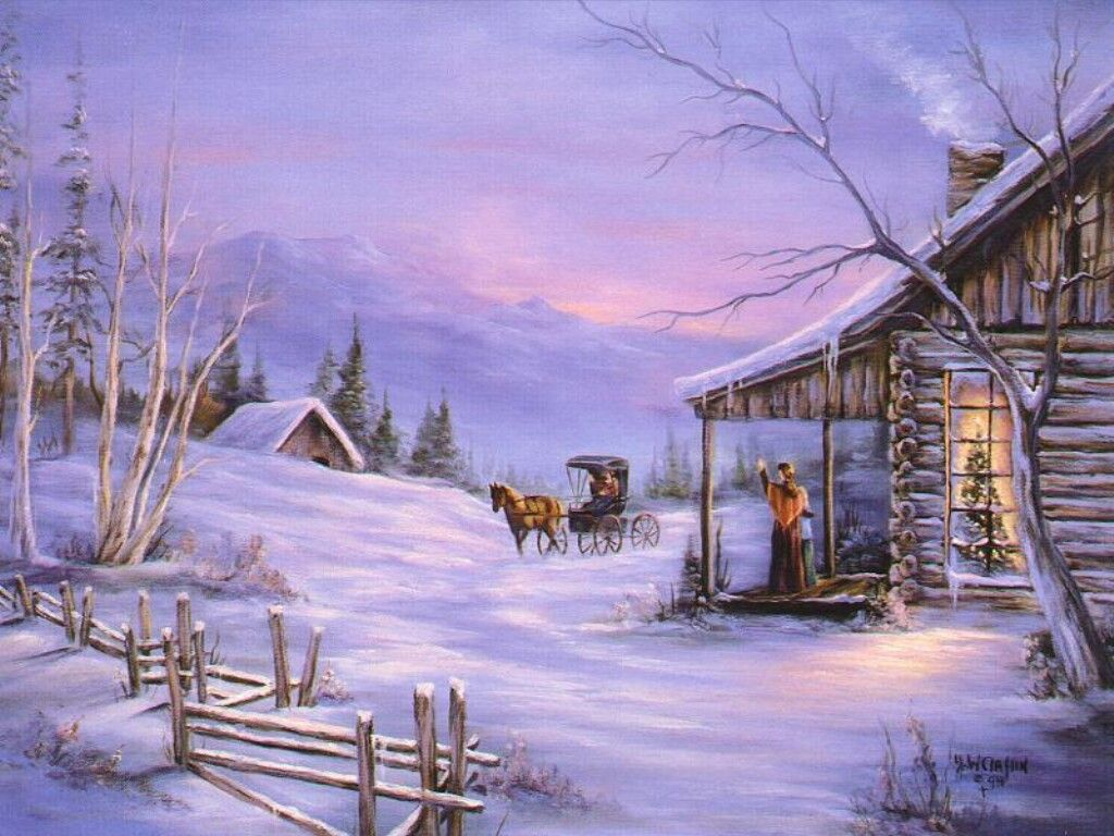 Arriving at the christmas cabin christmas landscapes for Country cabin christmas