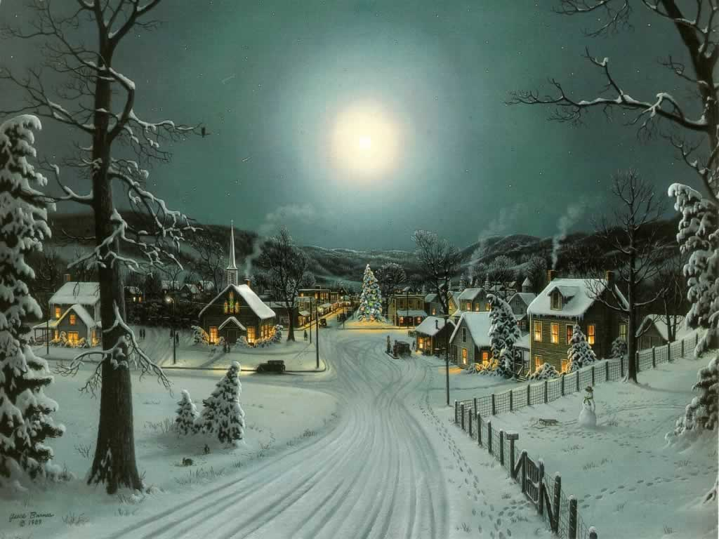 Full moon at xmas christmas landscapes for Christmas landscape images