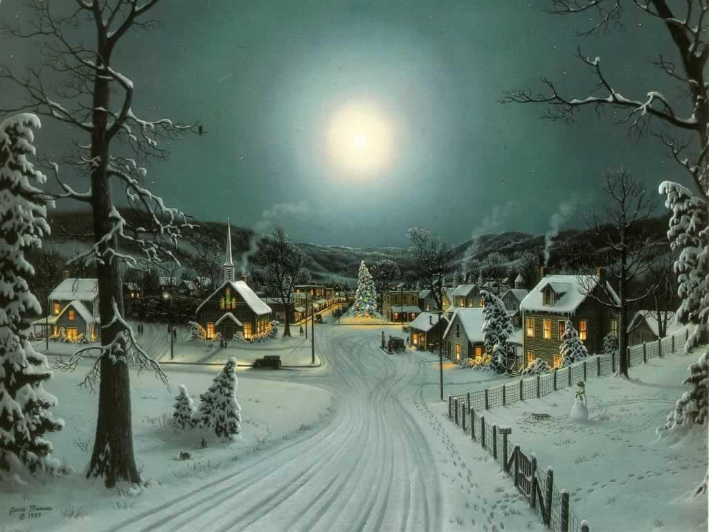 full moon at xmas   christmas landscapes