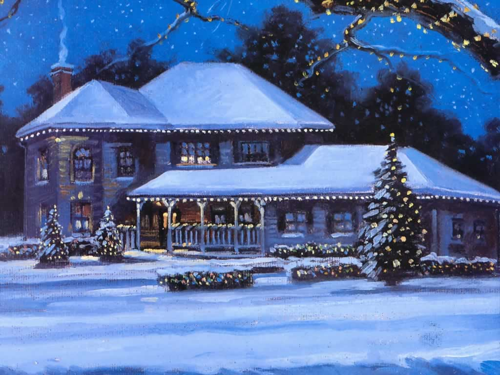 Xmas scene oil painting christmas landscapes for Christmas landscape images