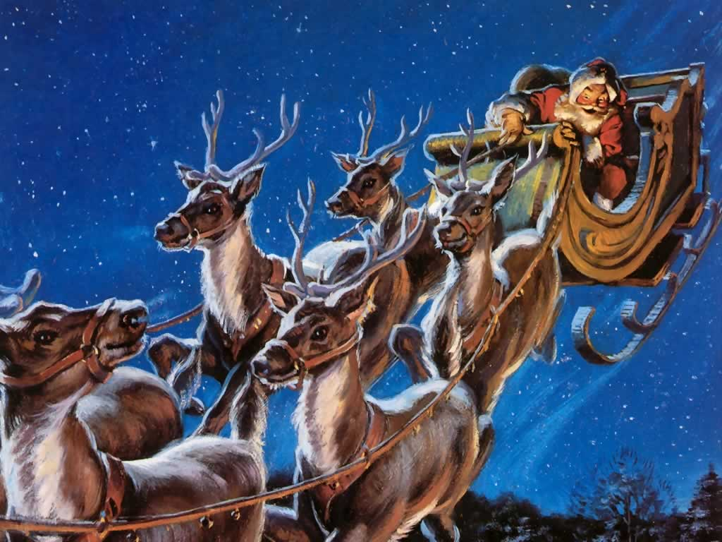 Santa in sleigh with reindeer new calendar template site