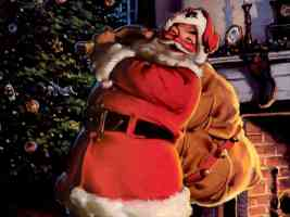 cheery santa with his sack