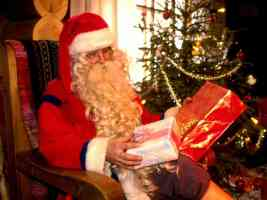santa looking at presents