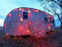 caravan in xmas lights