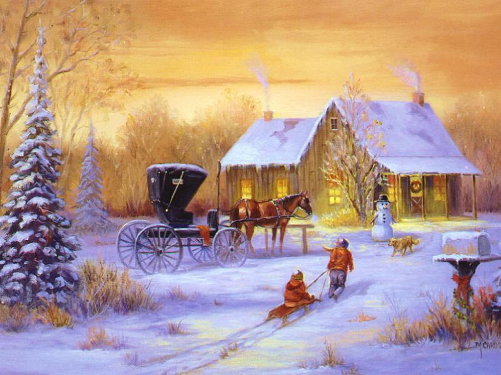 Previous Winter Scenes Wallpaper Christmas Art 02